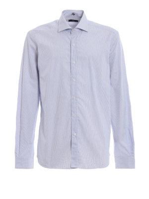 FAY: camicie - Camicia azzurra in cotone a quadrettini