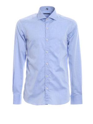 FAY: camicie - Camicia in cotone azzurro lilla