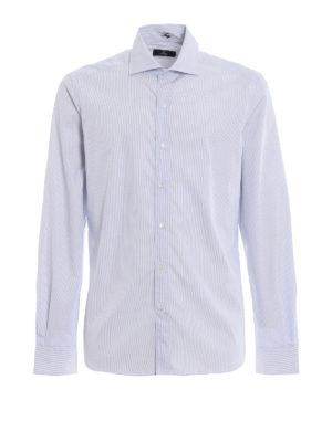 FAY: camicie - Camicia in popeline di cotone a righe azzurre