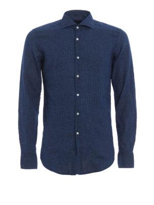 Fay: shirts - Linen blend micro patterned shirt
