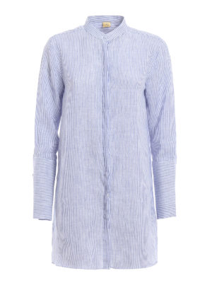Fay: shirts - Linen shirt with maxi cuffs