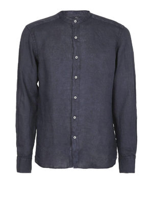 FAY: camicie - Camicia in lino blu collo coreana