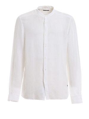 FAY: camicie - Camicia in lino con colletto alla coreana