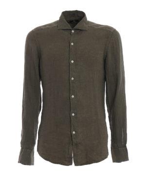 FAY: camicie - Camicia casual in lino verde oliva