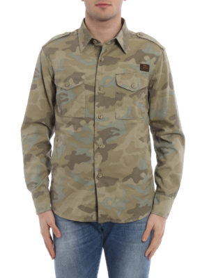 Fay: shirts online - Army style camouflage cotton shirt