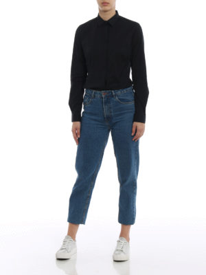Fay: shirts online - Black cotton shirt with darts