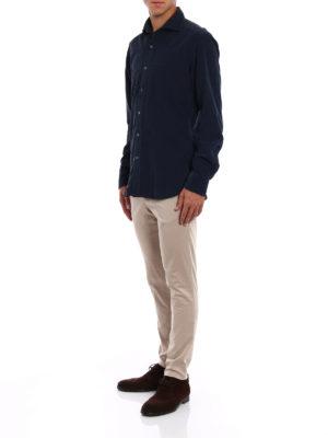 Fay: shirts online - Blue corduroy shirt