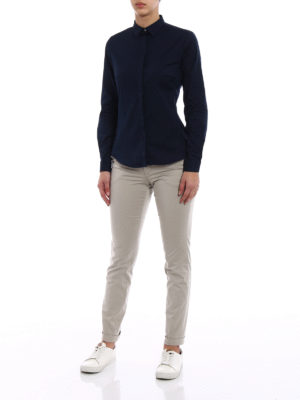 Fay: shirts online - Blue cotton shirt with darts