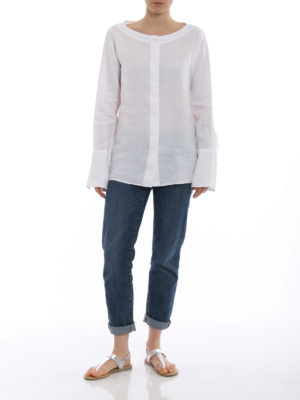 Fay: shirts online - Boat neck white linen shirt