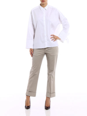Fay: shirts online - Bow detailed cotton oversized shirt