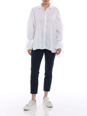 Fay: shirts online - Bow detailed white oversized shirt