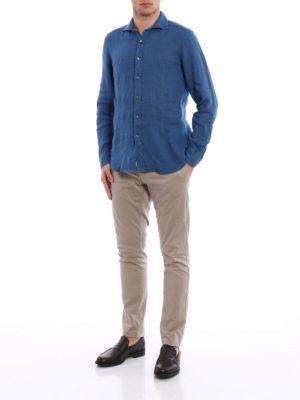 Fay: shirts online - Cutaway collar linen shirt