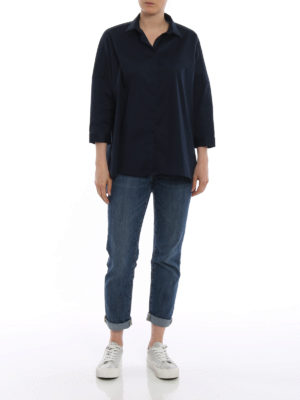 Fay: shirts online - Dark blue cotton oversize shirt