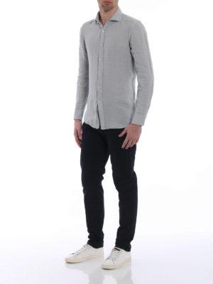 Fay: shirts online - Garment dyed light grey linen shirt
