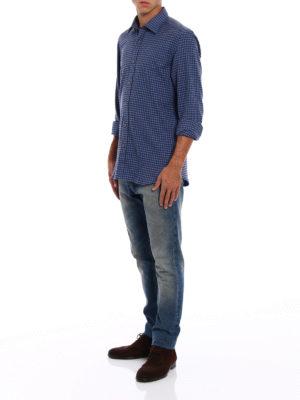Fay: shirts online - Gingham fleece cotton shirt