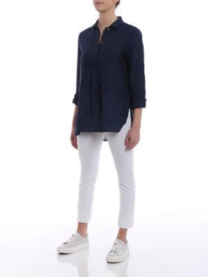 Fay: shirts online - Lightweight blue linen over shirt