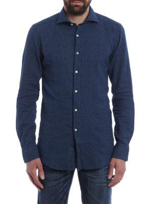 Fay: shirts online - Linen blend micro patterned shirt
