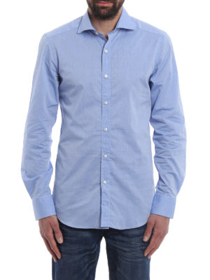 Fay: shirts online - Tonal micro patterned cotton shirt