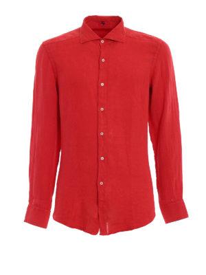 FAY: camicie - Camicia casual in lino rosso