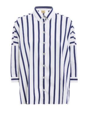 Fay: shirts - Striped twill boxy shirt