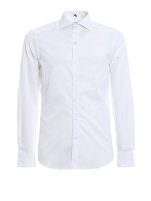Fay: shirts - Tonal micro patterned cotton shirt