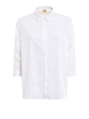 Fay: shirts - White cotton oversize shirt
