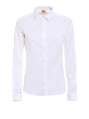 Fay: shirts - White cotton shirt with darts