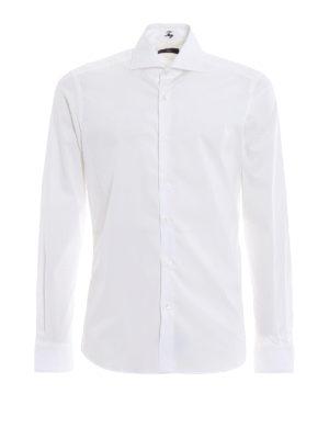 FAY: camicie - Camicia bianca in popeline di cotone stretch