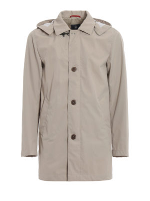 Fay: short coats - Beige technical fabric overcoat