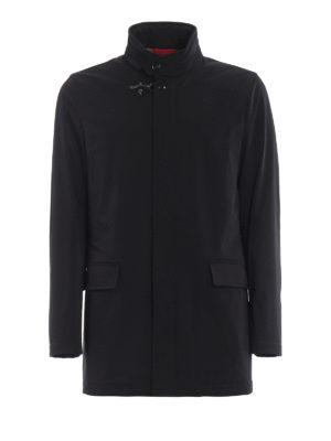 FAY: cappotti corti - Impermeabile corto in tecno gabardine nero