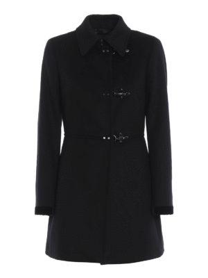 FAY: cappotti corti - Cappotto in panno di lana e cashmere nero