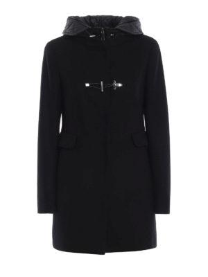 FAY: cappotti corti - Cappotto nero con cappuccio in nylon