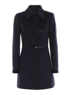 FAY: cappotti corti - Cappotto in panno di lana e cashmere blu