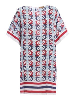 Fay: short coats - Boat print crepe cady dress