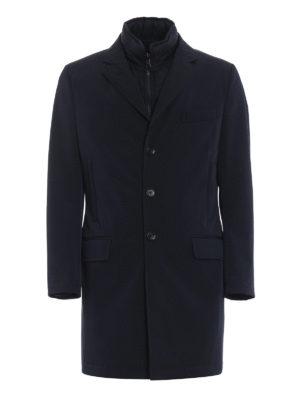 FAY: cappotti corti - Cappotto in tecno gabardine blu Double Coat