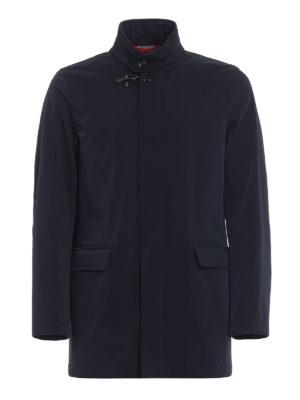 FAY: cappotti corti - Impermeabile corto in tecno gabardine blu