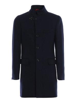 FAY: cappotti corti - Cappotto blu scuro in panno di misto lana