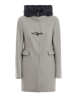 FAY: cappotti corti - Cappotto grigio con double front e cappuccio