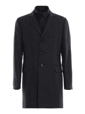 FAY: cappotti corti - Cappotto spigato in lana e cashmere con gilet