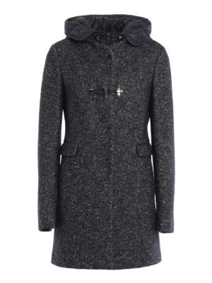 Fay: short coats - Hooded wool and cotton coat