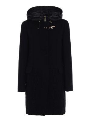 Fay: short coats - Knit wool and cloth black coat