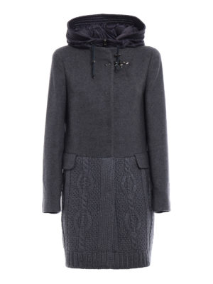Fay: short coats - Knit wool and cloth hooded coat