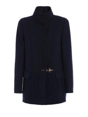 Fay: short coats - Knitted wool hem short coat