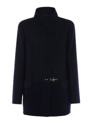 Fay: short coats - Knitted wool trim short coat