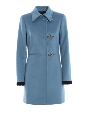 FAY: cappotti corti - Cappotto in lana e cashmere azzurro