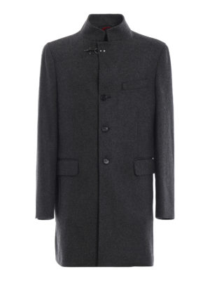 FAY: cappotti corti - Cappotto monopetto in lana cotta melange