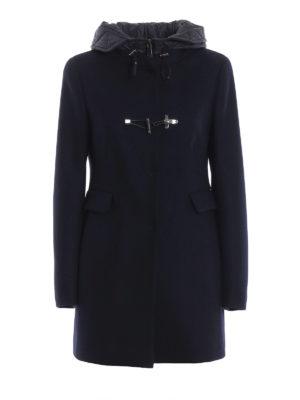 FAY: cappotti corti - Cappotto blu scuro  con cappuccio in nylon