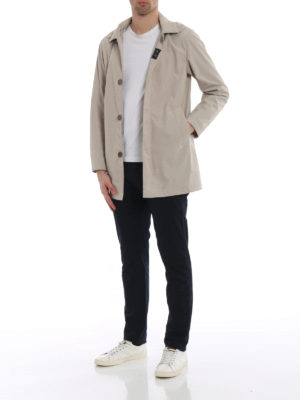 Fay: short coats online - Beige technical fabric overcoat