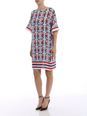Fay: short coats online - Boat print crepe cady dress