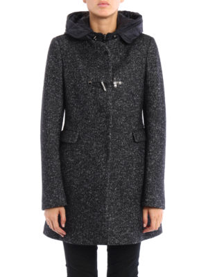 Fay: short coats online - Hooded wool and cotton coat